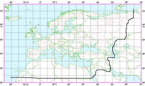 Carte de la région euro-méditerranéenne généralement retenue